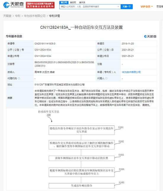 华为公开自动泊车交互方法相关专利